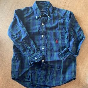 🏇🏼 2 for $20 Ralph Lauren Green Plaid Shirt Sz 4